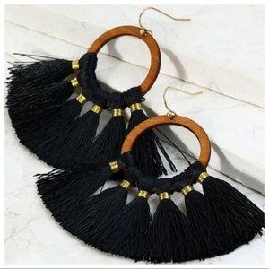LAST PAIR! Black Threaded Fringe Earrings
